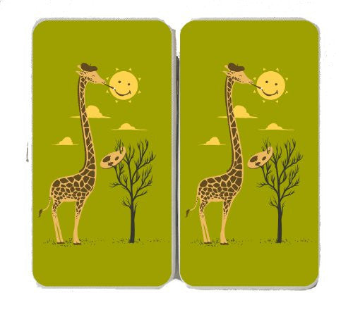 'Painting Smiley' Funny Cartoon Giraffe Artist Painter & Sun Smiling - Taiga Hinge Wallet Clutch