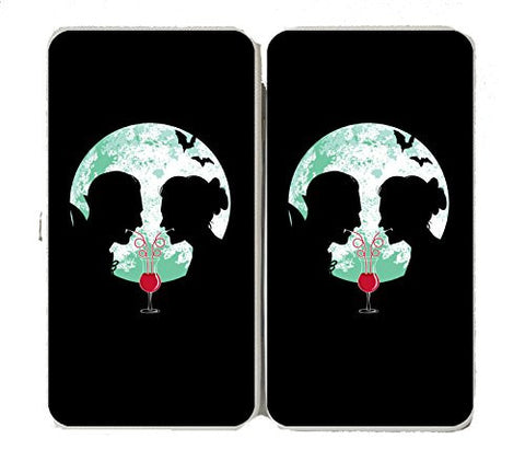 'Bloody Couple' Vampire Date Silhouettes w/ Moon & Bats - Taiga Hinge Wallet Clutch