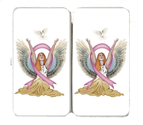 Angel & Dove Breast Cancer Awareness Ribbon - Taiga Hinge Wallet Clutch