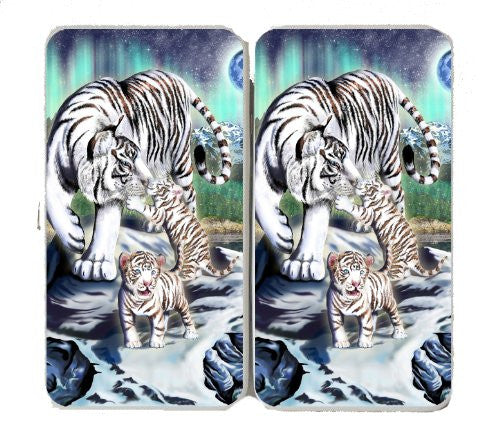 Big Cat White Tiger w/ Cubs in Mountains - Taiga Hinge Wallet Clutch