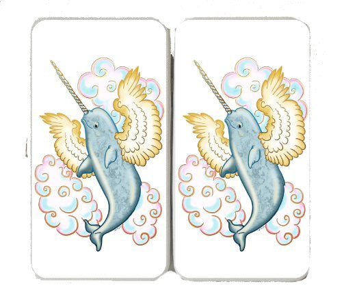 Flying Whale Narwhal Flying w/ Wings in Clouds - Taiga Hinge Wallet Clutch