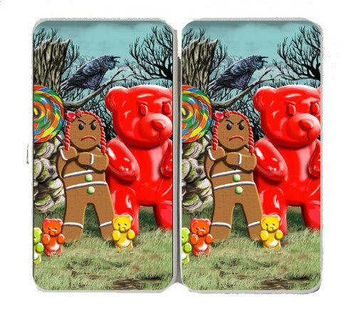 Gingerbread Girl w/ Gummy Bears, Crow, & Lollipop - Taiga Hinge Wallet Clutch