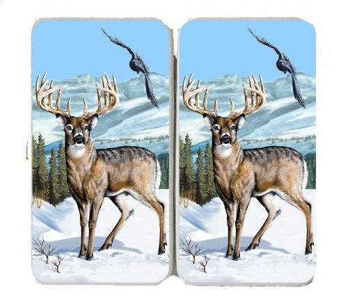Deer Winter Scene w/ Bird & Mountains - Taiga Hinge Wallet Clutch