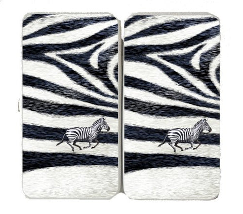 Zebra Skin Pattern Design w/ Running Animal - Taiga Hinge Wallet Clutch