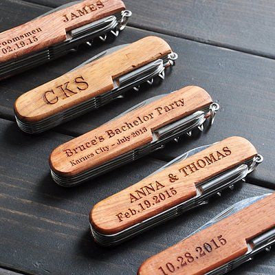 Personalized Pocket Knife Custom Multi-tool Engraved Name Groomsman Wedding Gift