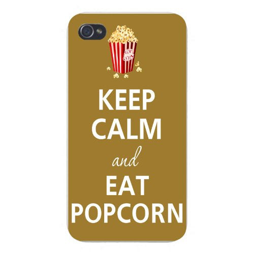 Apple Iphone Custom Case 5 / 5s White Plastic Snap on - Keep Calm and Eat  Popcorn