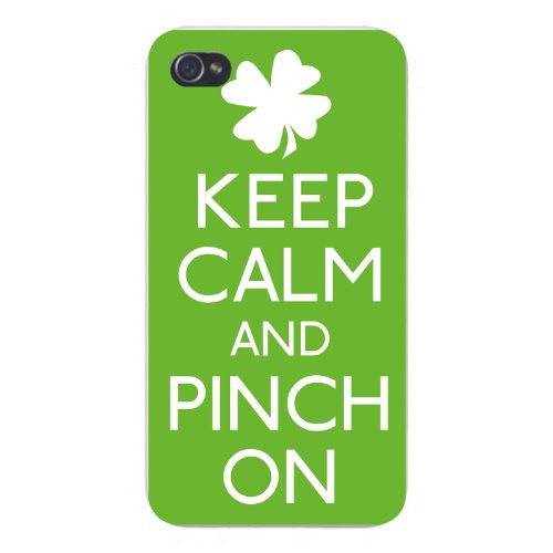 Apple Iphone Custom Case 5 5s Snap on - Keep Calm and Pinch On w/ Lucky Green Irish Clover