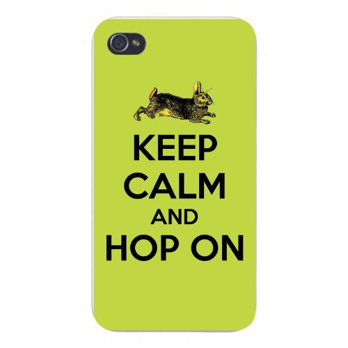 Apple Iphone Custom Case 5 5s Snap on - Keep Calm and Hop On Classic Bunny Rabbit Illustration