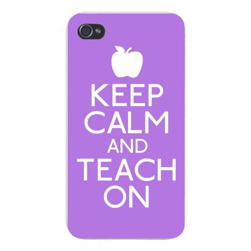 Apple Iphone Custom Case 5 5s Snap on - Keep Calm and Teach On w/ Apple White/Blue