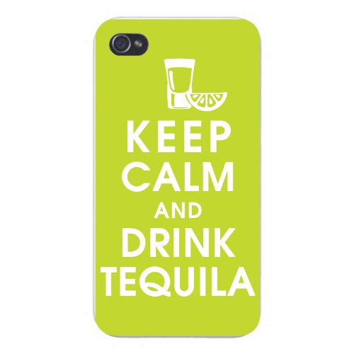 Apple Iphone Custom Case 5 5s Snap on - Keep Calm and Drink Tequila w/ Glass & Lemon Slice