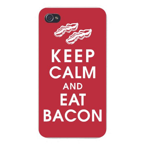 Apple Iphone Custom Case 5 5s Snap on - Keep Calm and Eat Bacon
