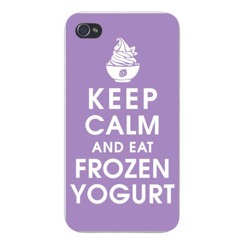 Apple Iphone Custom Case 5 5s Snap on - Keep Calm and Eat Frozen Yogurt