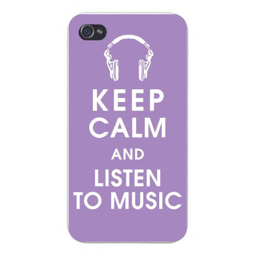 Apple Iphone Custom Case 5 5s Snap on - Keep Calm and Listen to Music w/ Headphones