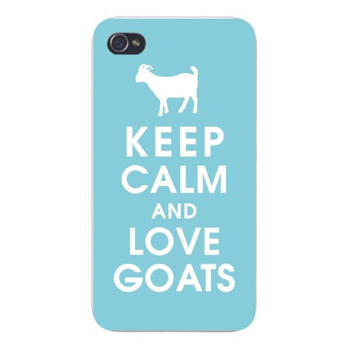 Apple Iphone Custom Case 5 5s Snap on - Keep Calm and Love Goats White Silhouette