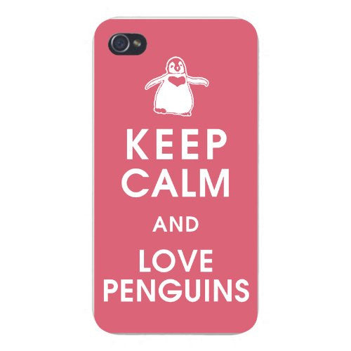 Apple Iphone Custom Case 5 5s Snap on - Keep Calm and Love Penguins w/ Heart