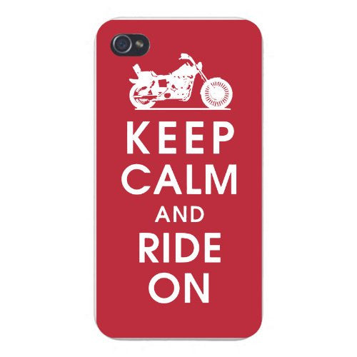 Apple Iphone Custom Case 5 5s Snap on - Keep Calm and Ride On w/ Motorcycle Bike on Red