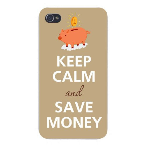 Apple Iphone Custom Case 5 5s Snap on - Keep Calm and Save Money w/ Coin & Piggy Bank