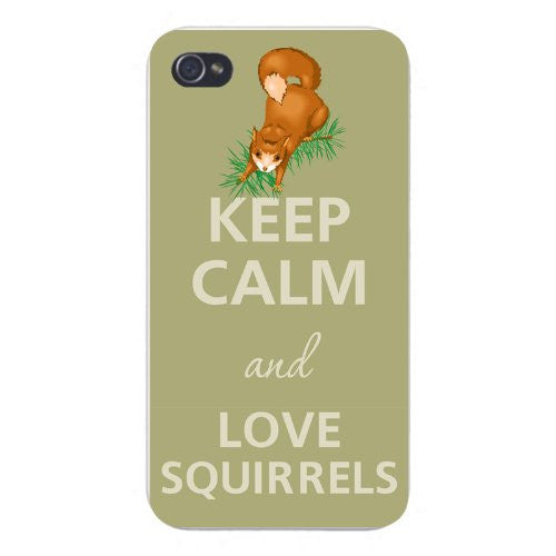 Apple Iphone Custom Case 5 5s Snap on - Keep Calm and Love Squirrels Jumping