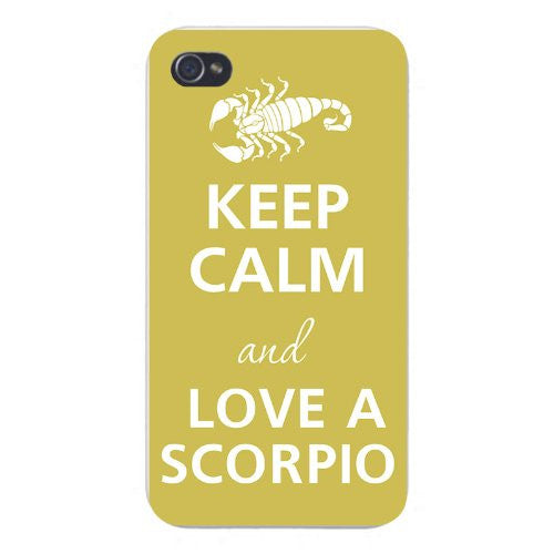 Apple Iphone Custom Case 5 5s Snap on - Keep Calm and Love A Scorpio w/ Scorpion
