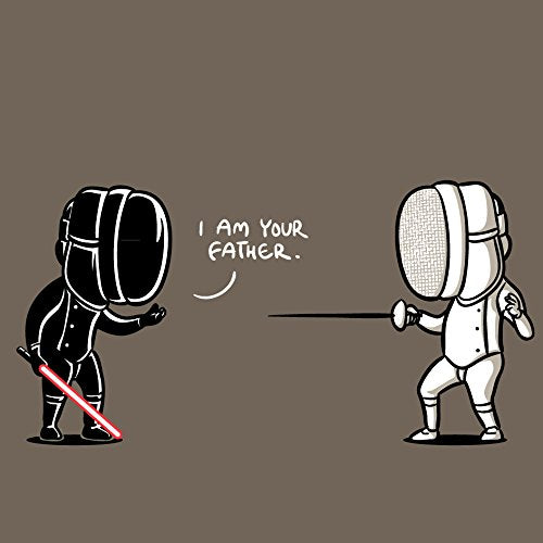 I Am Your Father Fencing Sword Fighting Space Movie Parody 18x18 - Vinyl Print Poster