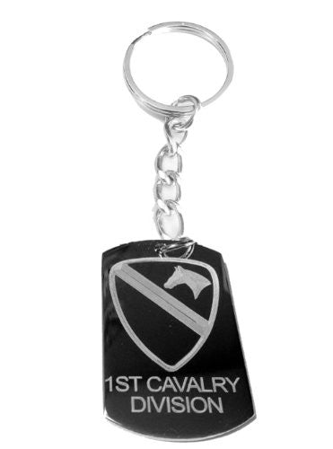 United States Armed Forces 1st Cavalry Horse Shield Logo Symbols - Metal Ring Key Chain Keychain