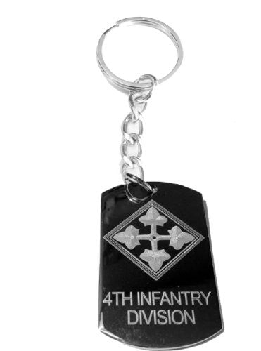 United States Armed Forces 4th Infantry Division Shield Logo Symbols - Metal Ring Key Chain Keychain
