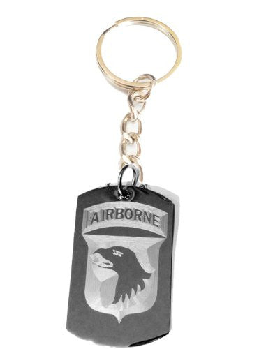 United States Army Armed Forces 101st Airborne Screaming Eagle Unit Division Rank Logo Symbols - Metal Ring Key Chain Keychain