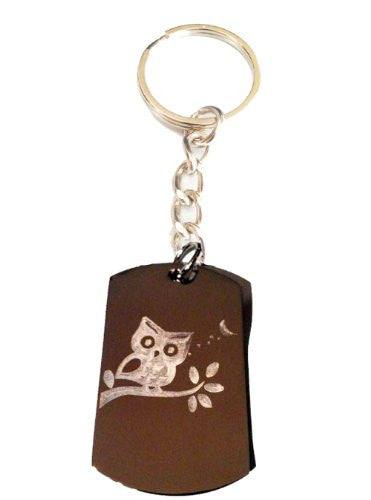 Wise OWL Bird Animal Sitting on Branch Logo Symbols - Metal Ring Key Chain Keychain