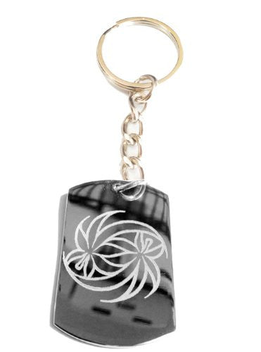 Weed Swirl Marijuana Pot Leaf Ganja Logo Symbol - Metal Ring Key Chain Keychain