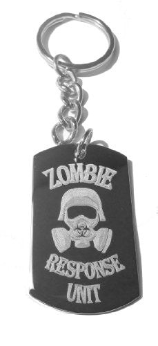 Zombie Outbreak Response Team Biohazzard Human Gas Mask Engraved Logo - Metal Ring Key Chain