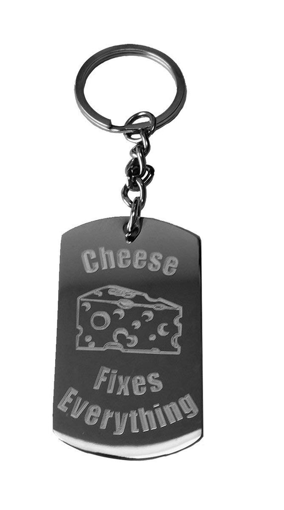Cheese Fixes Everything Metal Ring Key Chain Keychain