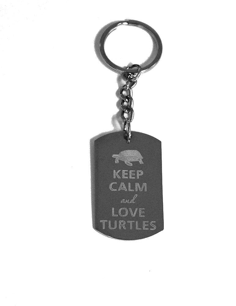 Keep Calm and Love Turtles Metal Ring Key Chain Keychain
