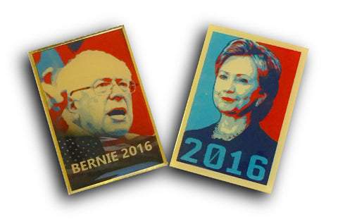 Lapel Pin - Hillary and Bernie SET OF TWO President Presidential Candidate 2016