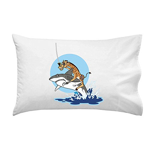 'Pirate Giraffe' Riding Shark Jumping From Water - Pillow Case Single Pillowcase