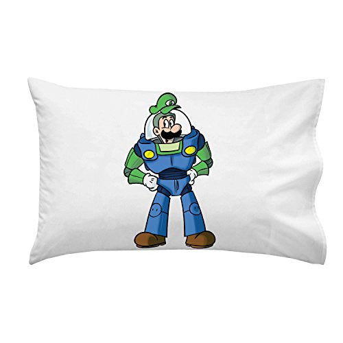 'Plumbing Story' Space Hero Character Funny Video Game & Children's Cartoon Movie Parody - Pillow Case Single Pillowcase