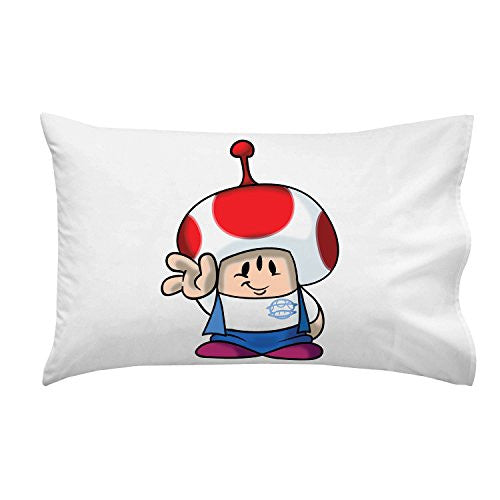 'Plumbing Story' Alien Mushroom Character Funny Video Game & Children's Cartoon Movie Parody - Pillow Case Single Pillowcase