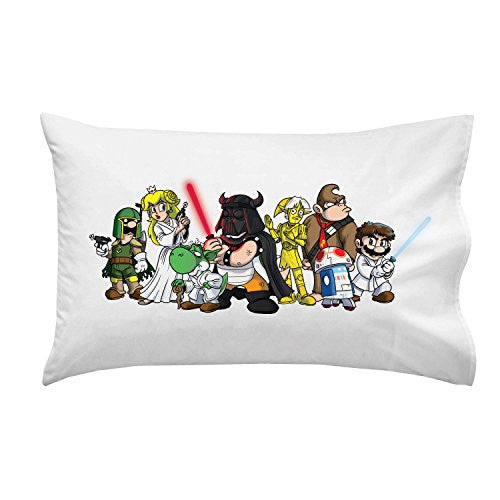 'Plumbing Wars Group' All Characters Funny Video Game & Space Movie Parody - Pillow Case Single Pillowcase
