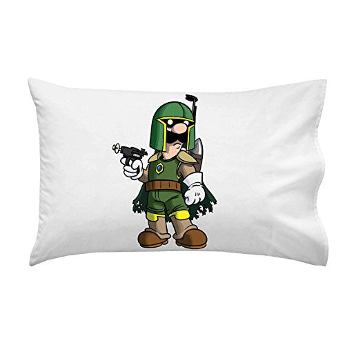 'Plumbing Wars' Bounty Hunter Villain Character Funny Video Game & Space Movie Parody - Pillow Case Single Pillowcase