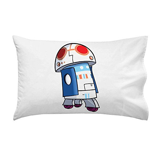 'Plumbing Wars' Rolling Beeping Robot Character Funny Video Game & Space Movie Parody - Pillow Case Single Pillowcase