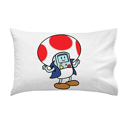 'Plumbing Time' Mushroom Robot Console Character Funny Video Game & TV Show Cartoon Parody - Pillow Case Single Pillowcase