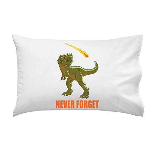 Pillow Case Single Pillowcase - 'Dinosaur Never Forget' Asteroid & Tyrannosaurus Rex Humor