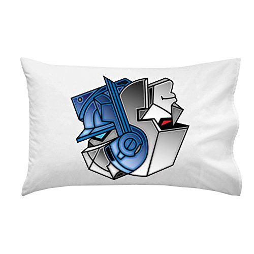 Pillow Case Single Pillowcase - 'Robots Good Bad Yin Yang' Alien Machine Movie Parody