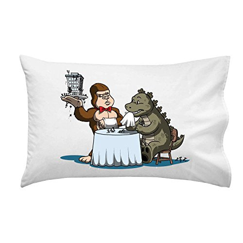 Pillow Case Single Pillowcase - 'Dinner is Served' Classic Movie Monsters Parody