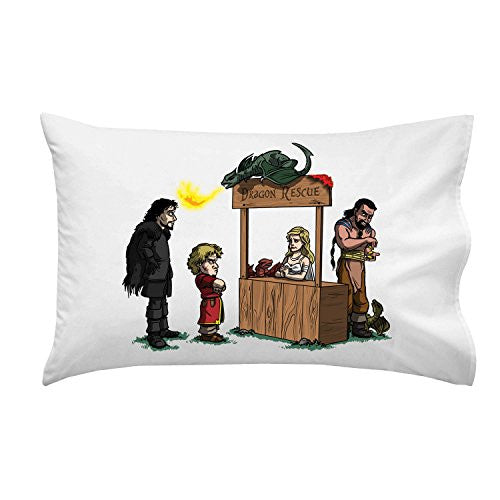 Pillow Case Single Pillowcase - 'Dragon Rescue' Medieval TV Show Parody