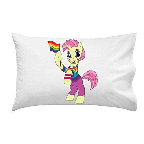 Pillow Case Single Pillowcase - 'Pride-icorn' Gay Rights Activism Animal Cartoon Parody