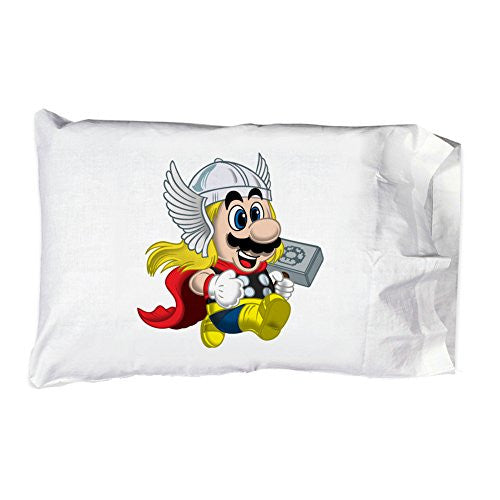 Pillow Case Single Pillowcase - 'Plumber of Lightning' Hero & Game Parody