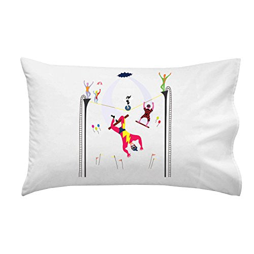 'Acrobats at Circus' Colorful Artwork - Pillow Case Single Pillowcase