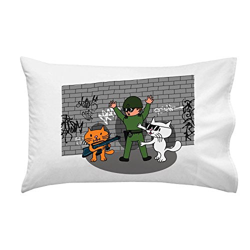 'Bad Cats w/ Cop' Funny Cartoon Tagged Brick Wall - Pillow Case Single Pillowcase