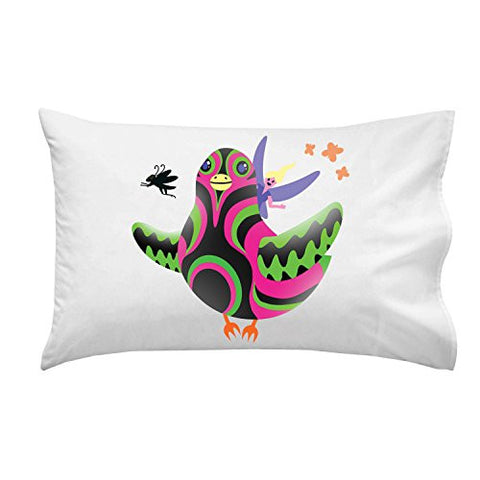 'Bird Fairy' Colorful Cartoon Artwork Design - Pillow Case Single Pillowcase