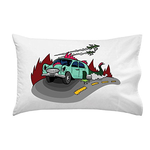 'Dino Car' Funny Dinosaur Lizard Car Cartoon - Pillow Case Single Pillowcase